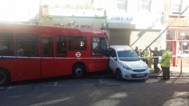 The Nissan was left sandwiched between the bus and a lamppost (Photo: Mayan Kurdi)