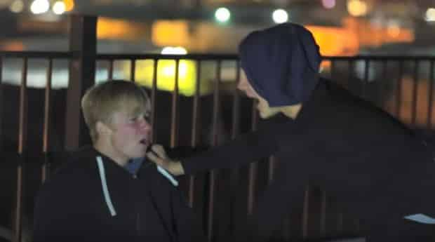 The moment Colby comes back to life and Sam is told it was all a prank (Picture: Sam Pepper/YouTube)
