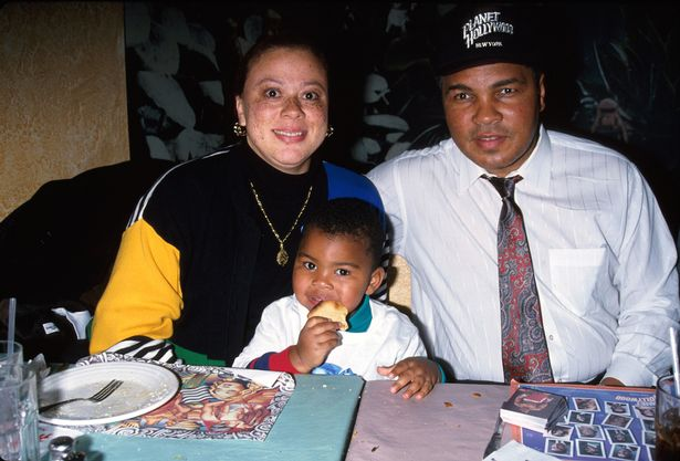 Muhammad Ali with current wife Yolanda and their son Asaad