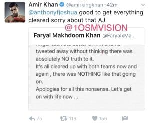 Amir Khan lost for words trying to say sorry to Anthony Joshua