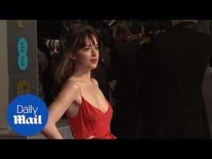 Dakota Johnson stuns in low-cut red gown on BAFTA red carpet – Daily Mail
