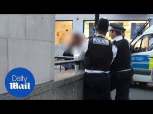 Dramatic: police arresting man after scissor attack to Liz Carr – Daily Mail