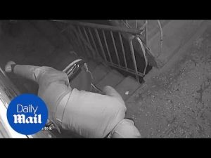 Funny moment thief falls over when trying to steal security camera – Daily Mail