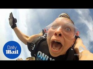 Hilarious moment girl loses false TEETH while on a skydive – Daily Mail