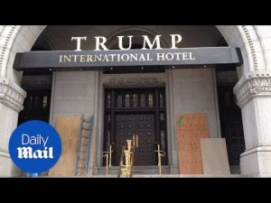 Trump's new Washington D.C. hotel spray-painted by vandals – Daily Mail