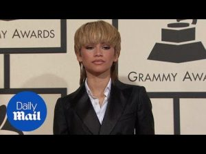 Zendaya rocks blonde mullet with a black tuxedo for Grammys – Daily Mail