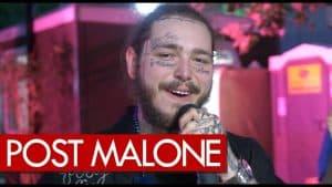 Post Malone backstage Wireless drinking buds talking tatts & swords