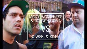 MICKY WORTHLESS & BONNIE GODIVA VS BOWSKI & KINELL | Don't Flop Rap Battle