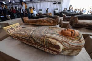 Egyptian officials announced the discovery of at least 100 ancient coffin